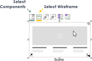 Select wireflow scene content (components or wireframe)
