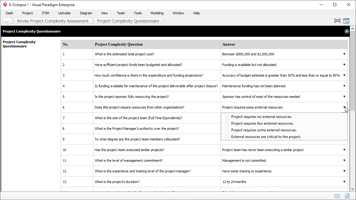 Project Complexity Assessment: Answering Questionnaire