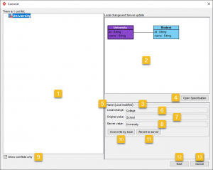 Visual Paradigm Commit window (Conflicts Resolution)